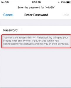 share wifi password iphone