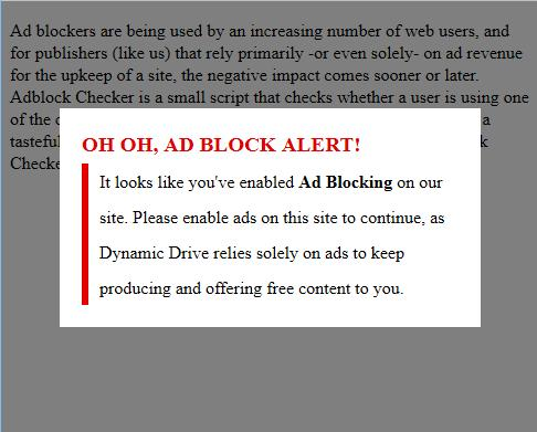 Here you can see the screenshot of the notification for AdBlocker